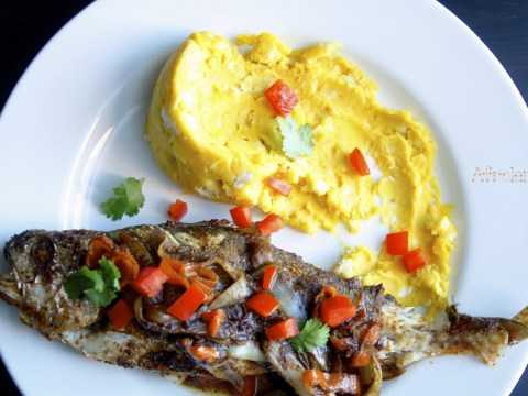 grilled spicy croaker fish and mashed yam