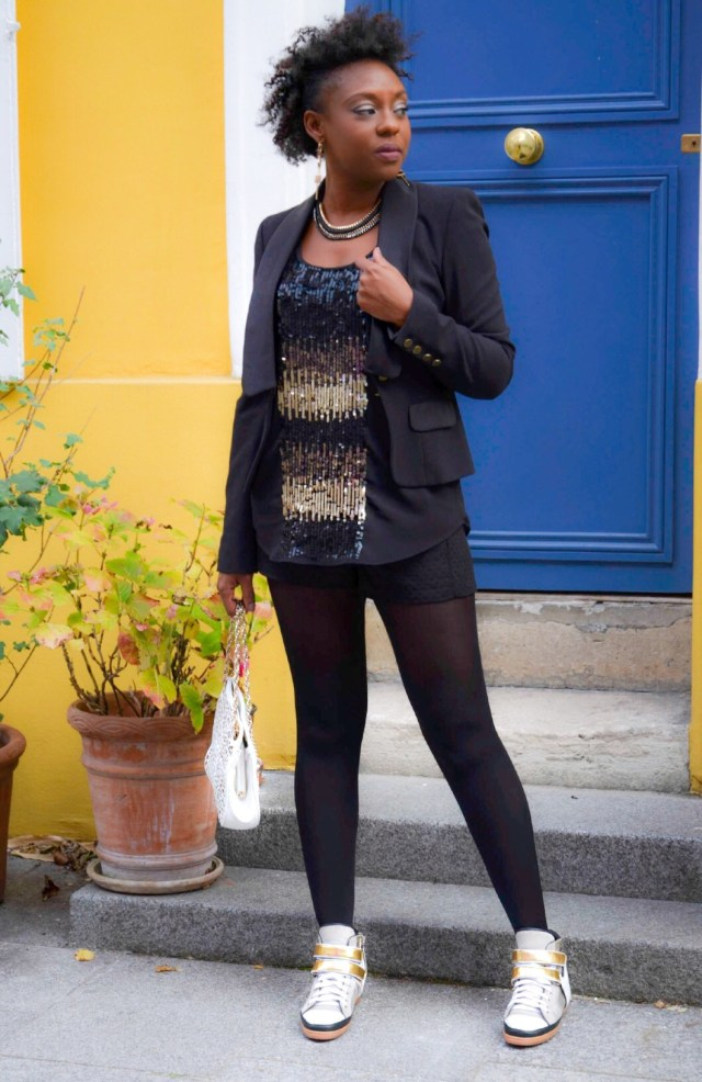style-look-soirée-gold-and-black-en-sneakers-baskets-maje-rue-cremieux
