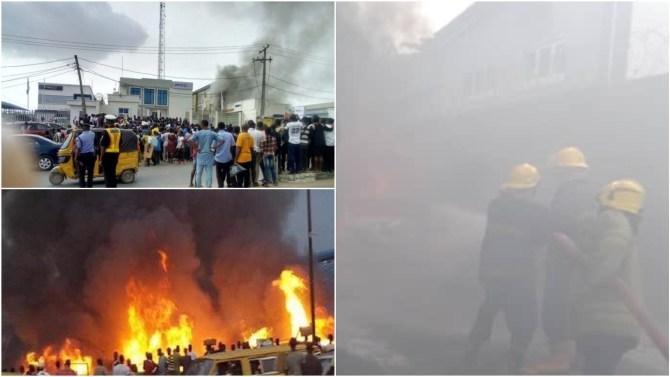 Fire Guts Access Bank In Victoria Island, Lagos (Video)