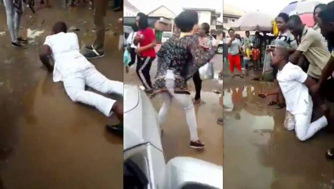 Man rolls inside mud in Owerri after girlfriend rejected proposal