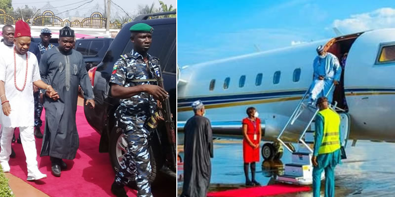 PHOTO: Billionaire Prince Arthur Eze praises Buhari as he makes first flight ahead of reopening of Enugu