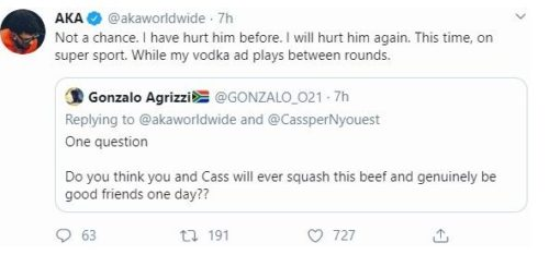 Cassper Nyovest isn't ready to fight AKA till 2021