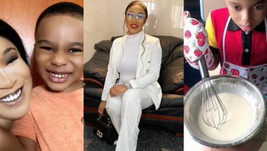 Tonto Dikeh's son, King Andre, makes her proud