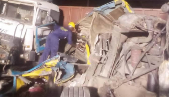 Tragedy as trucks, tanker collide with commercial bus, kill two women in Lagos