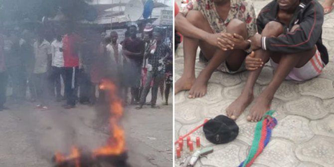 Two teen armed robbers set ablaze, one other at large after a failed robbery in Calabar