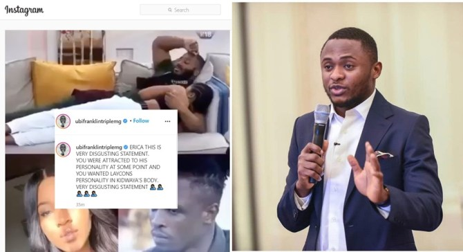 """Ubi Franklin berates Erica for making a """"very disgusting statement"""" about Laycon (Video)"""