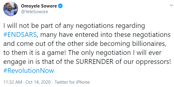 Some people made billions from #EndSARS negotiations, Sowore discloses