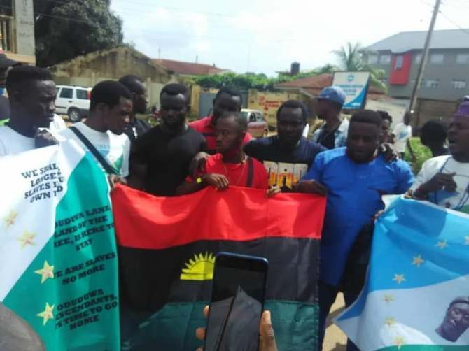 Secession: IPOB, Oduduwa republic agitators in joint protests on Independence Day (photos)