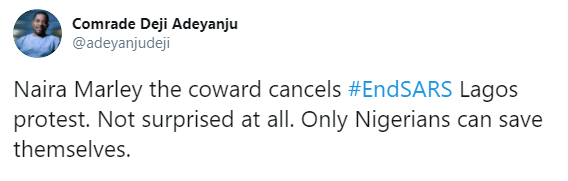 Deji Adeyanju calls Naira Marley, a coward for cancelling his planned protest