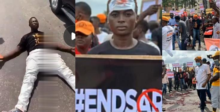 #EndSarsProtest: Angry protester lays down on the road, vows not to stand up till they end SARs (Video)