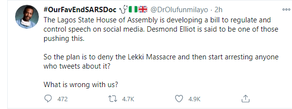 Nigerian youths drag Desmond Eliot for allegedly supporting social media regulation bill
