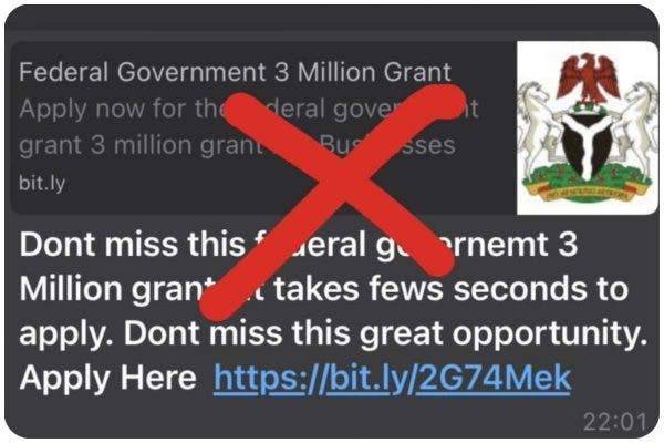 Scam Alert: FG Warns Nigerians About Fake N3m Grant