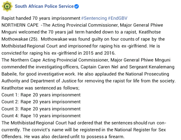 25 year-old South African Man Sentenced To 70 Years In Prison For Raping Ex-girlfriend
