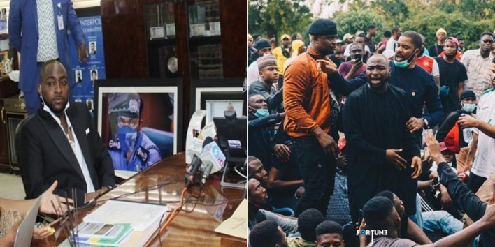 VIDEO: Drama in IGP's office as Davido denies joining #EndSARS protest