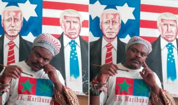 Rasta flaunts painting of Donald Trump and Joe Biden