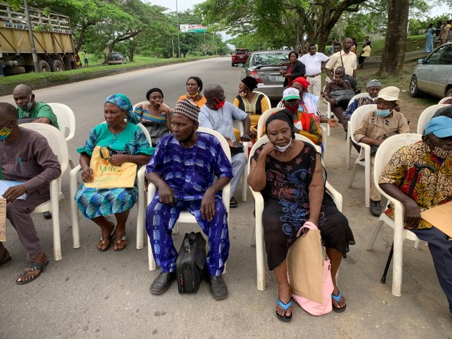 PHOTOS: Cross River Retirees Protest Non-payment Of Pension, Block Highway