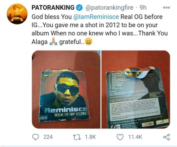 Patoranking Appreciates Reminisce For Giving Him A Chance to 'Blow'