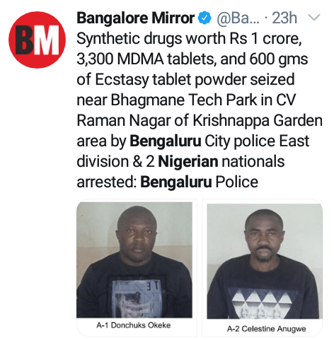 India police arrest two Nigerian men with drugs worth over N51m