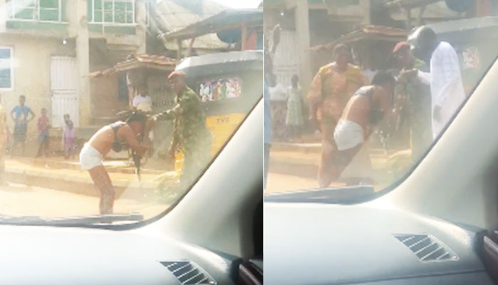 Soldier beats, strips lady naked for indecent dressing in Ogun