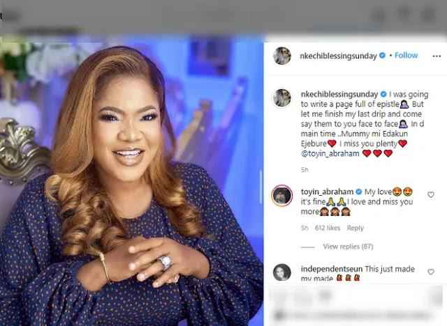 Actress, Nkechi Blessing Finally Settles Rift With Colleague, Toyin Abraham