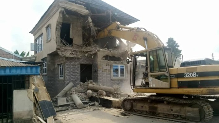 PHOTOS: Cross River Gov't demolishes brothel, 4 houses owned by suspected kidnappers