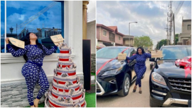 Biodun Okeowo 'Omoborty' buys a new car, gets another as a gift