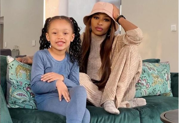 DJ Zinhle adorable snap of her daughter, Kairo Forbes on family getaway to the bush