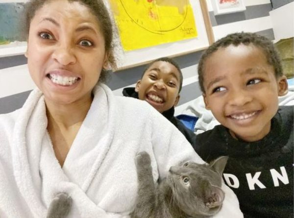 Enhle Mbali and her boys try out cute experiment (Video)
