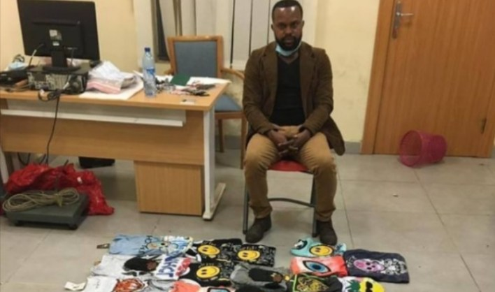 PHOTO: NDLEA officials arrest drug trafficker who hides cocaine in t-shirts