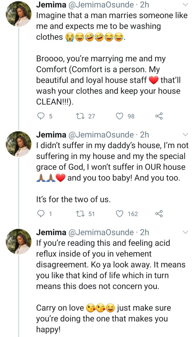 Actress Jemima Osunde to Future Husband: I won't be cooking and washing anybody's clothes