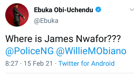 James Nwafor: Ebuka Obi-Uchendu queries Gov Obiano, Police on the whereabouts of former OC SARS Awkuzu