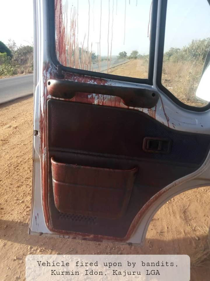 PHOTOS: Bandits attack vehicle, injure two along Kaduna-Kachia road