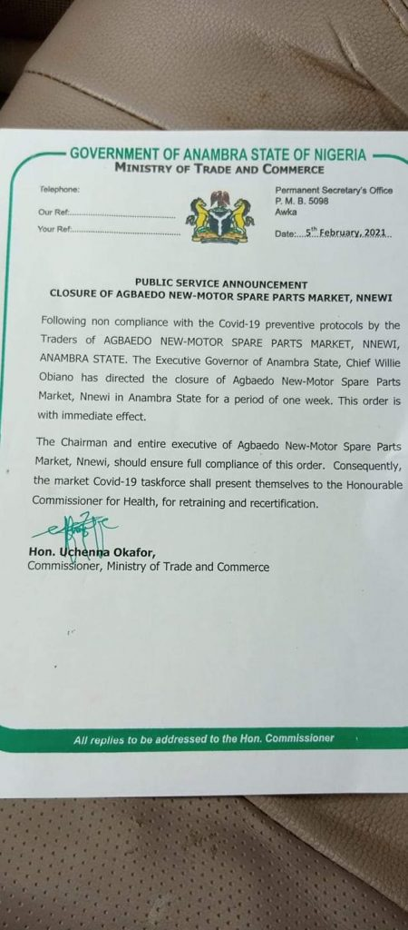 COVID-19: Obiano shuts down Nnewi market over non-compliance with safety protocols