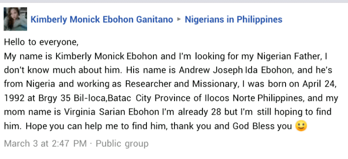 PHOTOS: Philippine woman searching for her Nigerian father on Twitter gets disappointing news