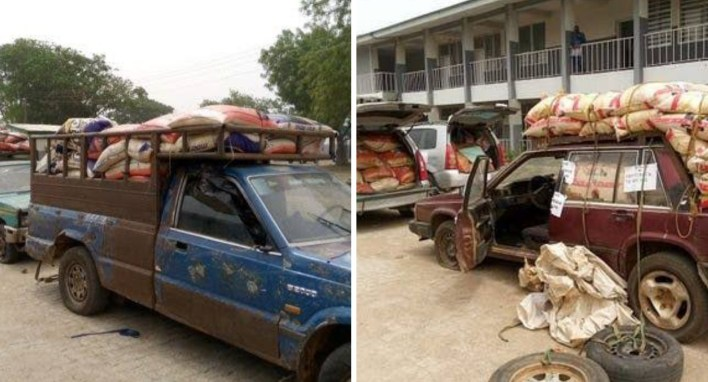 Border Patrol Team intercepts bags of foreign rice smuggled in 13 locally fabricated vans in Ilorin