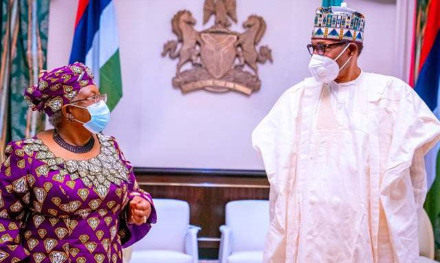 BREAKING: Buhari, DG WTO, Okonjo-Iweala meet in Aso Rock (PHOTOS)