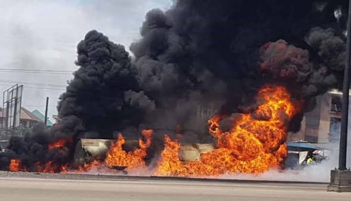 JUST IN: 11 petrol tankers burnt, many injured as fire guts popular garage in Kaduna