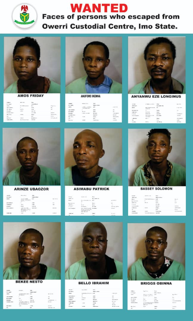 Imo jailbreak: Nigeria Correctional Center releases more names and photos of escaped inmates