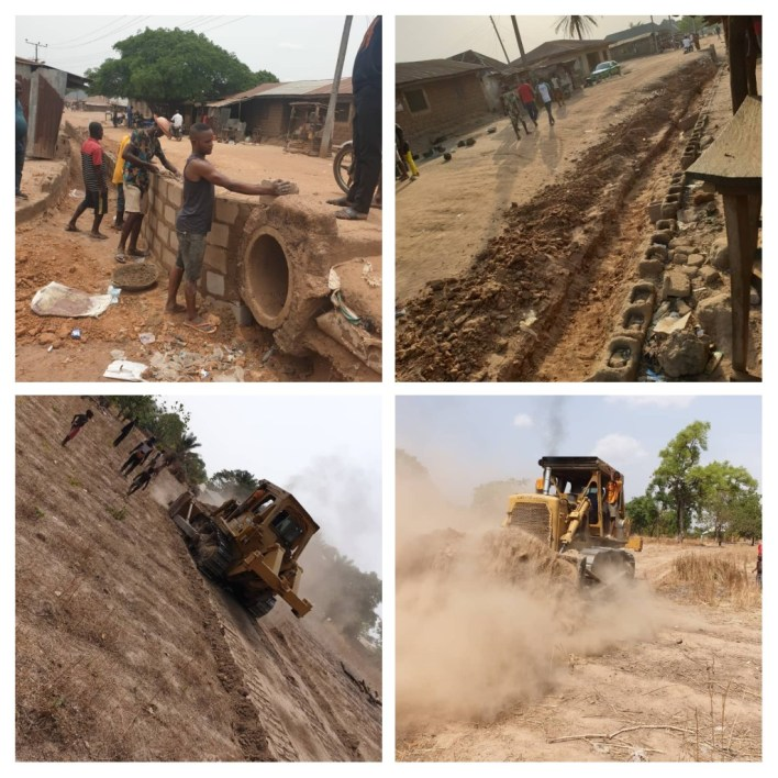 PHOTOS: Super Eagles star Simon constructs road and drainage system in Benue State