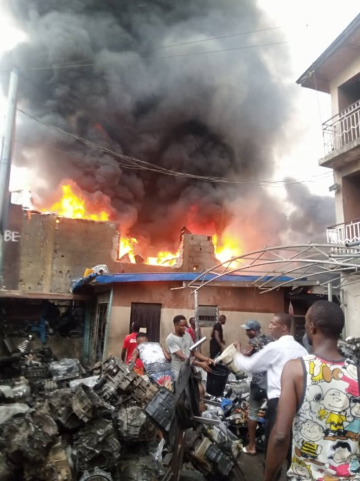 Fire guts Ladipo spare parts market in Lagos