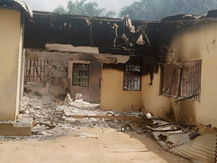 PHOTOS: Hoodlums set INEC office ablaze in Akwa Ibom