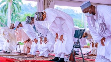 Buhari, Lawan, Gbajabiamila, others observe Eid prayer at Aso Villa
