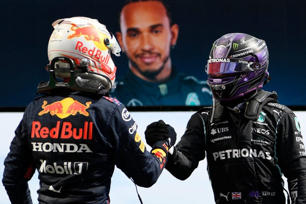 Red Bull driver Max Verstappen and Mercedes' Lewis Hamilton