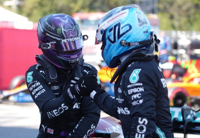 Lewis Hamilton and Valtteri Bottas after qualifying for the Spanish Grand Prix