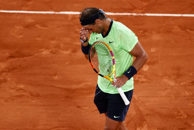 Rafael Nadal battling it out at the French Open 2021