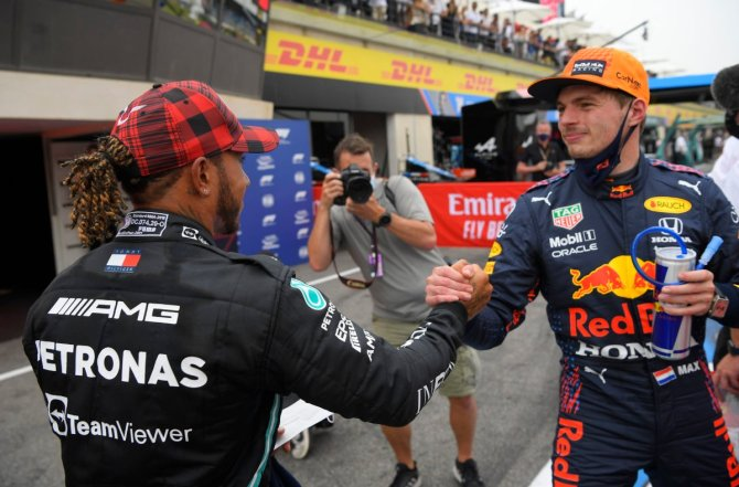 Max Verstappen and Mercedes' Lewis Hamilton after qualifying in the French GP