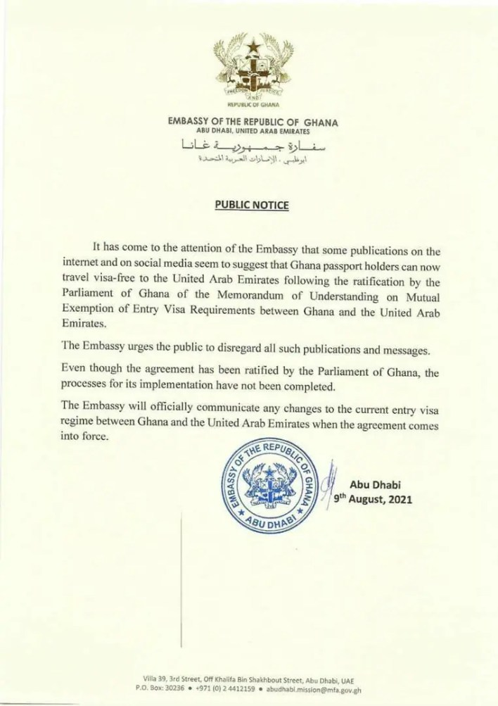 Visa waiver agreement with UAE have not been implemented – Ghana Embassy clarifies