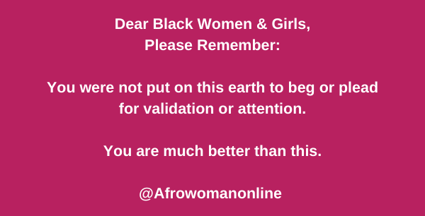 Dear Black women validation meme