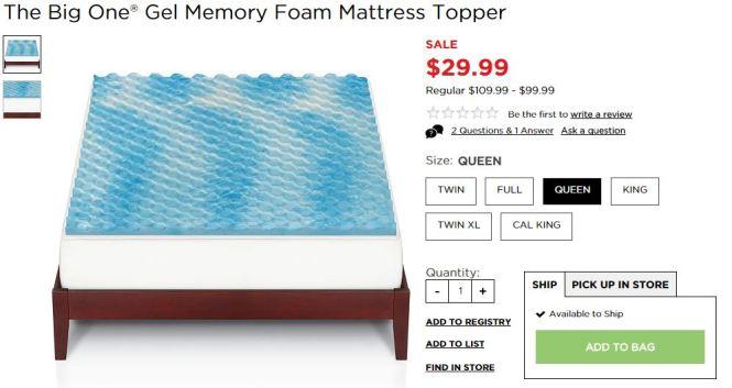 Gel Foam Memory Topper
