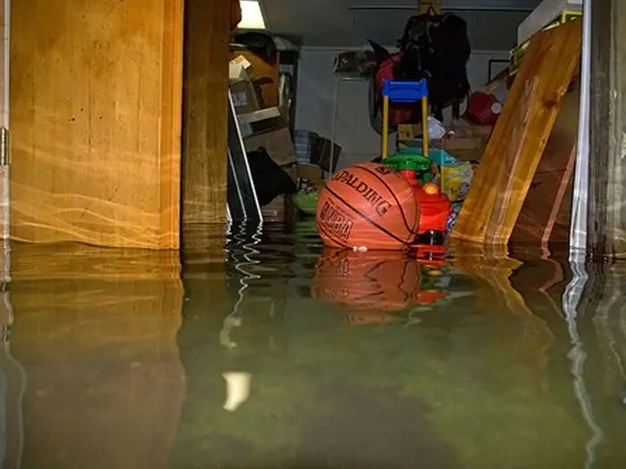 A flooded basement bedroom in Pelham